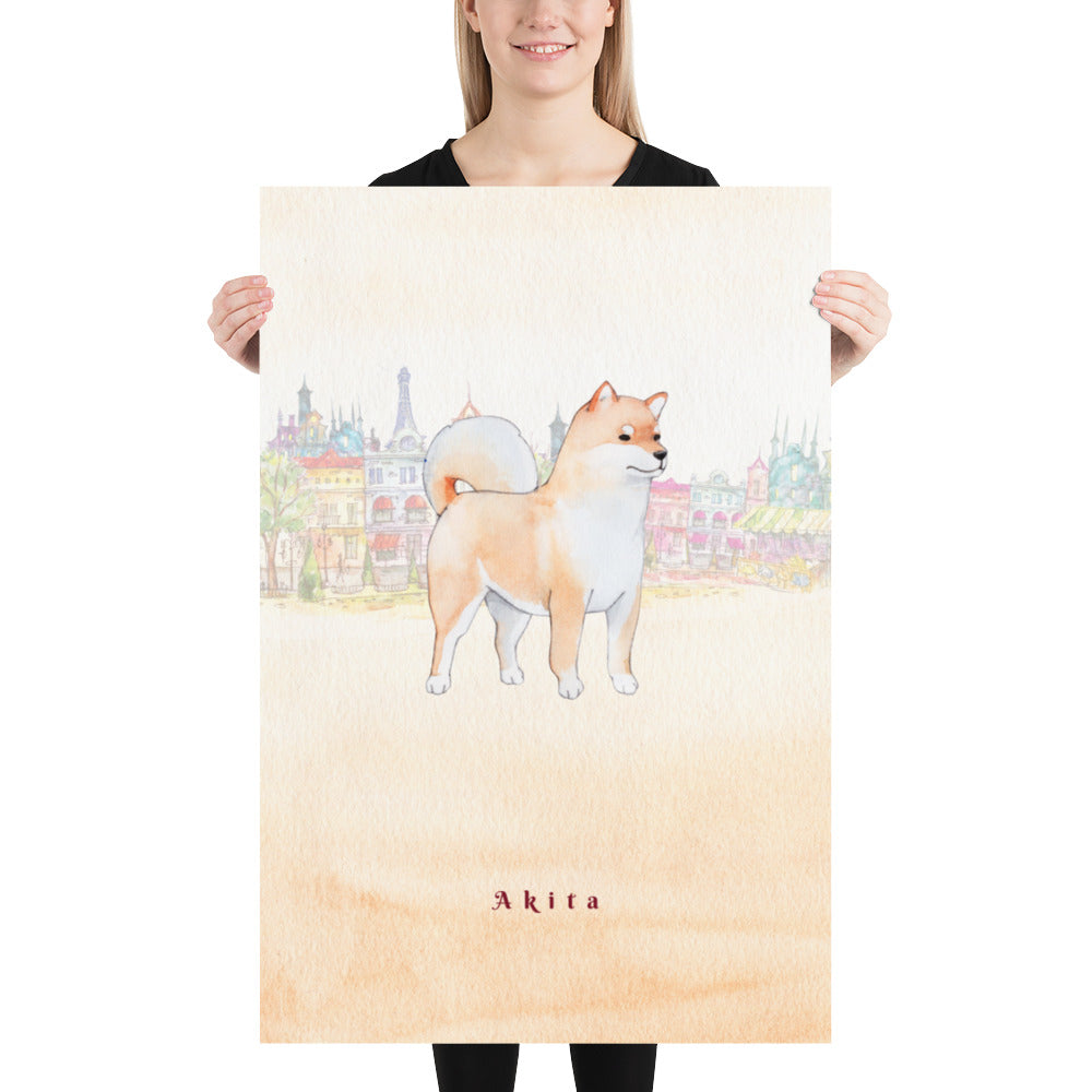 Akita Dog Pet Art - Customizable Hand Drawn Watercolor Style Poster For Pet Lovers - Next Art Lab