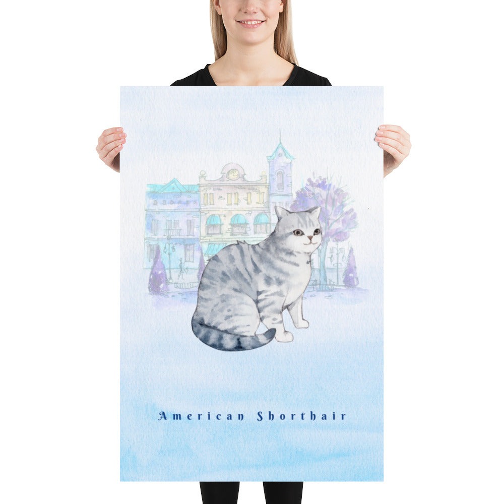 American Shorthair Cat Pet Art - Customizable Hand Drawn Watercolor Style Poster For Pet Lovers