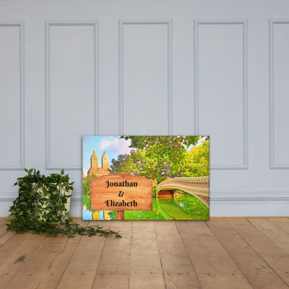 Love in Central Park Customizable Premium Canvas Art - Next Art Lab