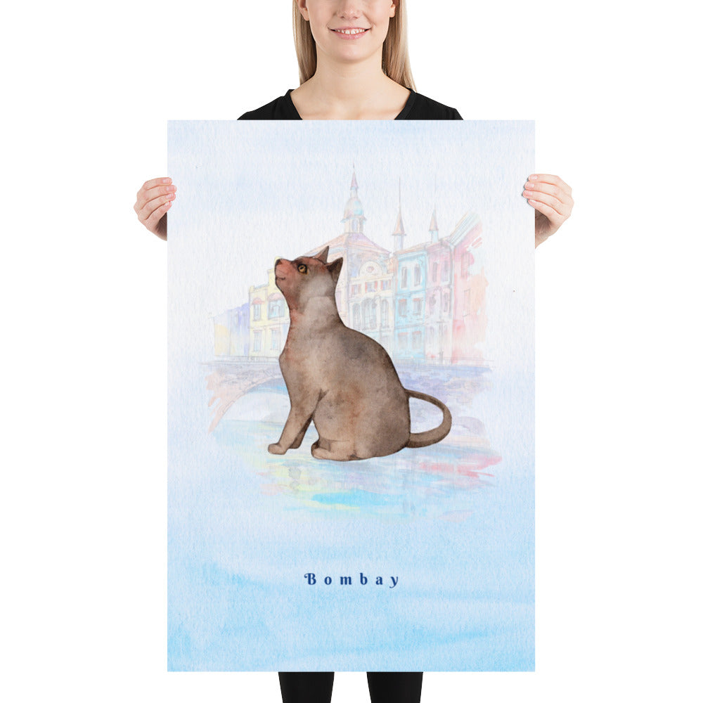 Bombay Cat Pet Art - Customizable Hand Drawn Watercolor Style Poster For Pet Lovers