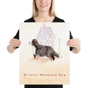 Bernese Mountain Dog Pet Art - Customizable Hand Drawn Watercolor Style Poster For Pet Lovers - Next Art Lab