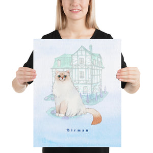 Open image in slideshow, Birman Cat Pet Art - Customizable Hand Drawn Watercolor Style Poster For Pet Lovers