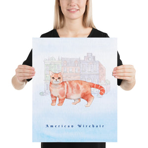 American Wirehair Cat Pet Art - Customizable Hand Drawn Watercolor Style Poster For Pet Lovers