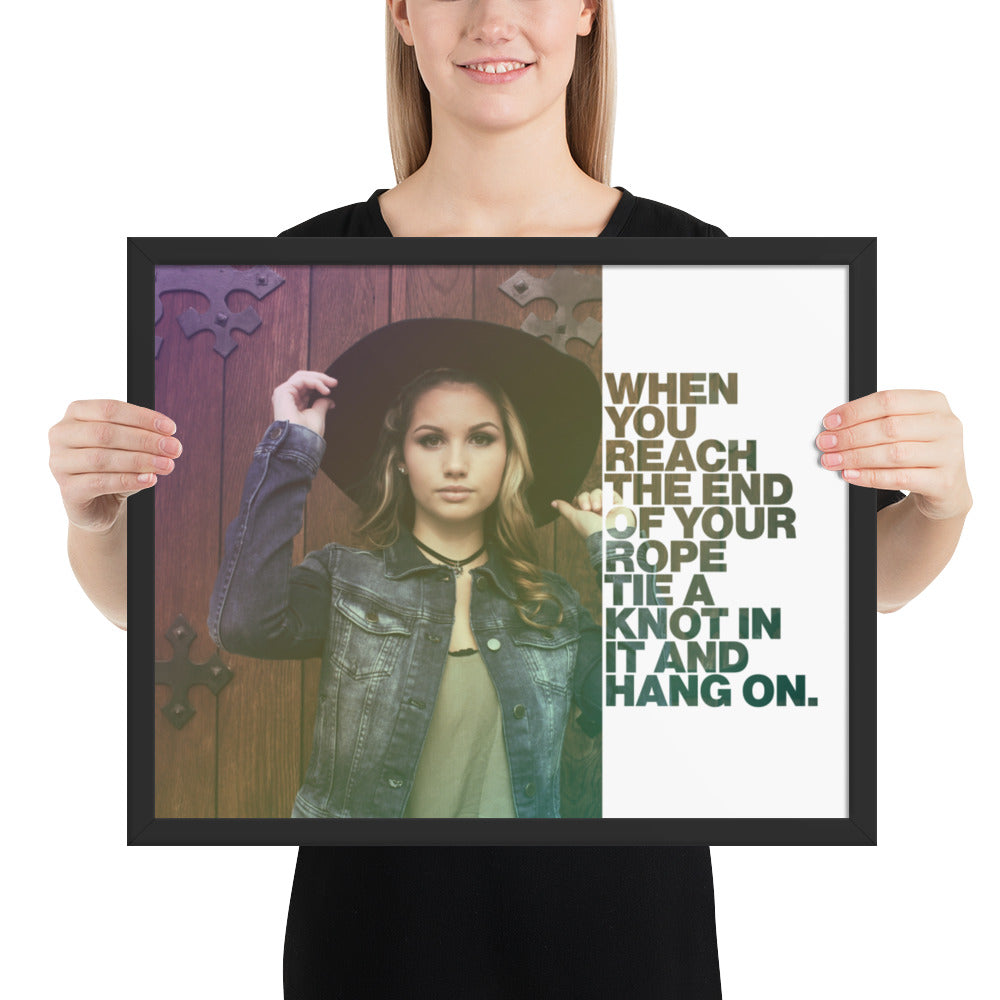 "Customizable Motivational Framed Premium Poster. ""When you reach the end of your rope, tie a knot in it and hang on."" -Franklin D. Roosevelt - Next Art Lab"