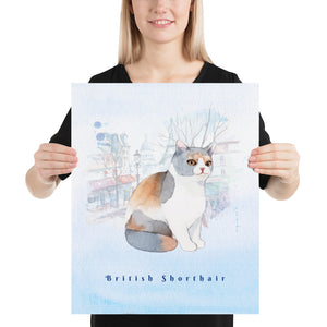 British Shorthair Cat Pet Art - Customizable Hand Drawn Watercolor Style Poster For Pet Lovers