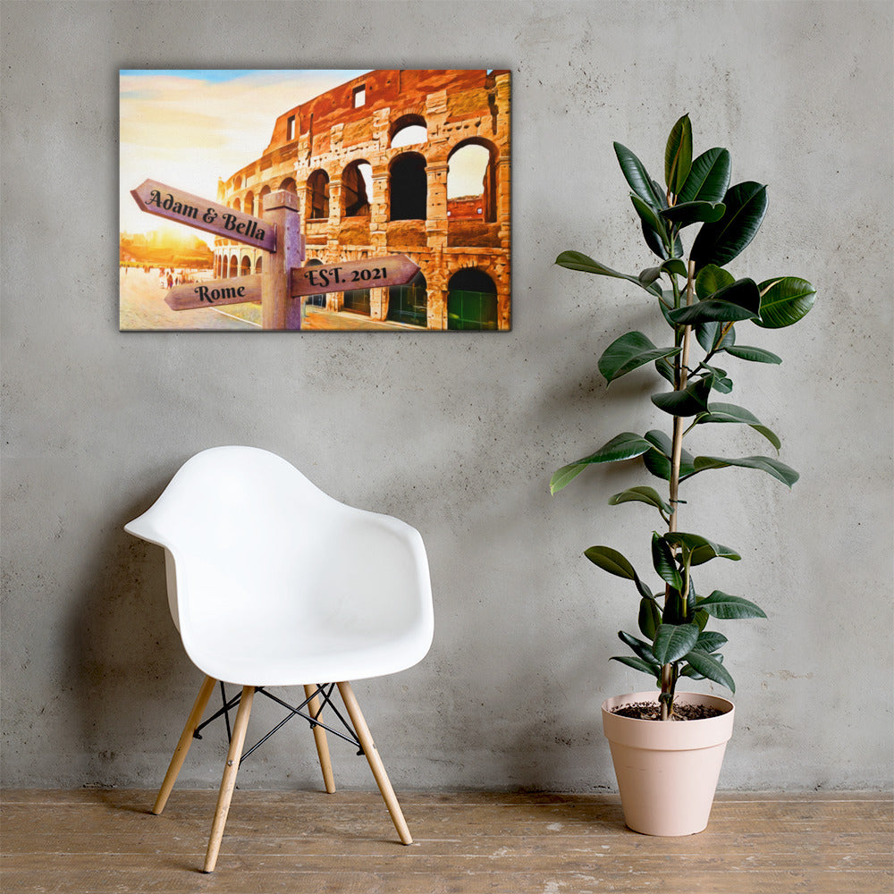 Love in Rome Customizable Premium Canvas Art - Next Art Lab