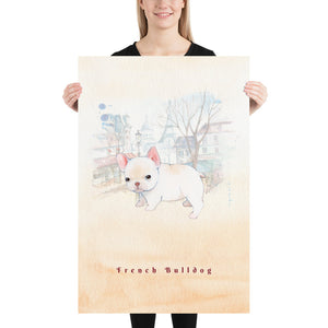 French Bulldog Pet Art - Customizable Hand Drawn Watercolor Style Poster For Pet Lovers