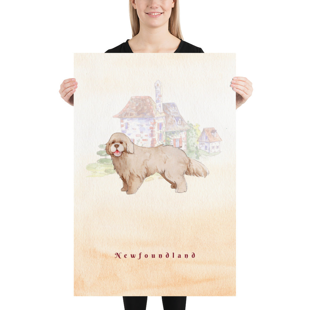 Newfoundland Dog Pet Art - Customizable Hand Drawn Watercolor Style Poster For Pet Lovers - Next Art Lab