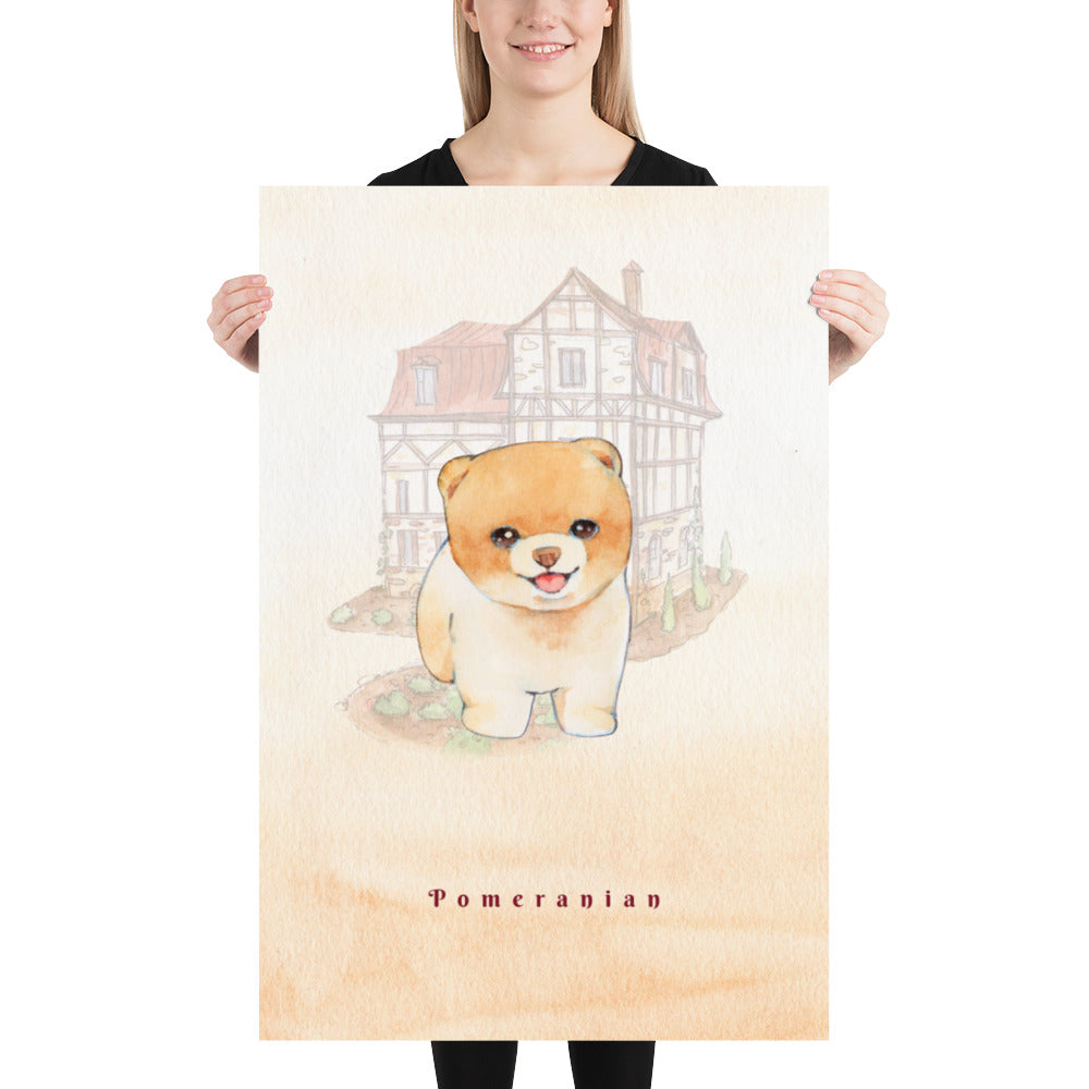 Pomeranian Dog Pet Art - Customizable Hand Drawn Watercolor Style Poster For Pet Lovers - Next Art Lab