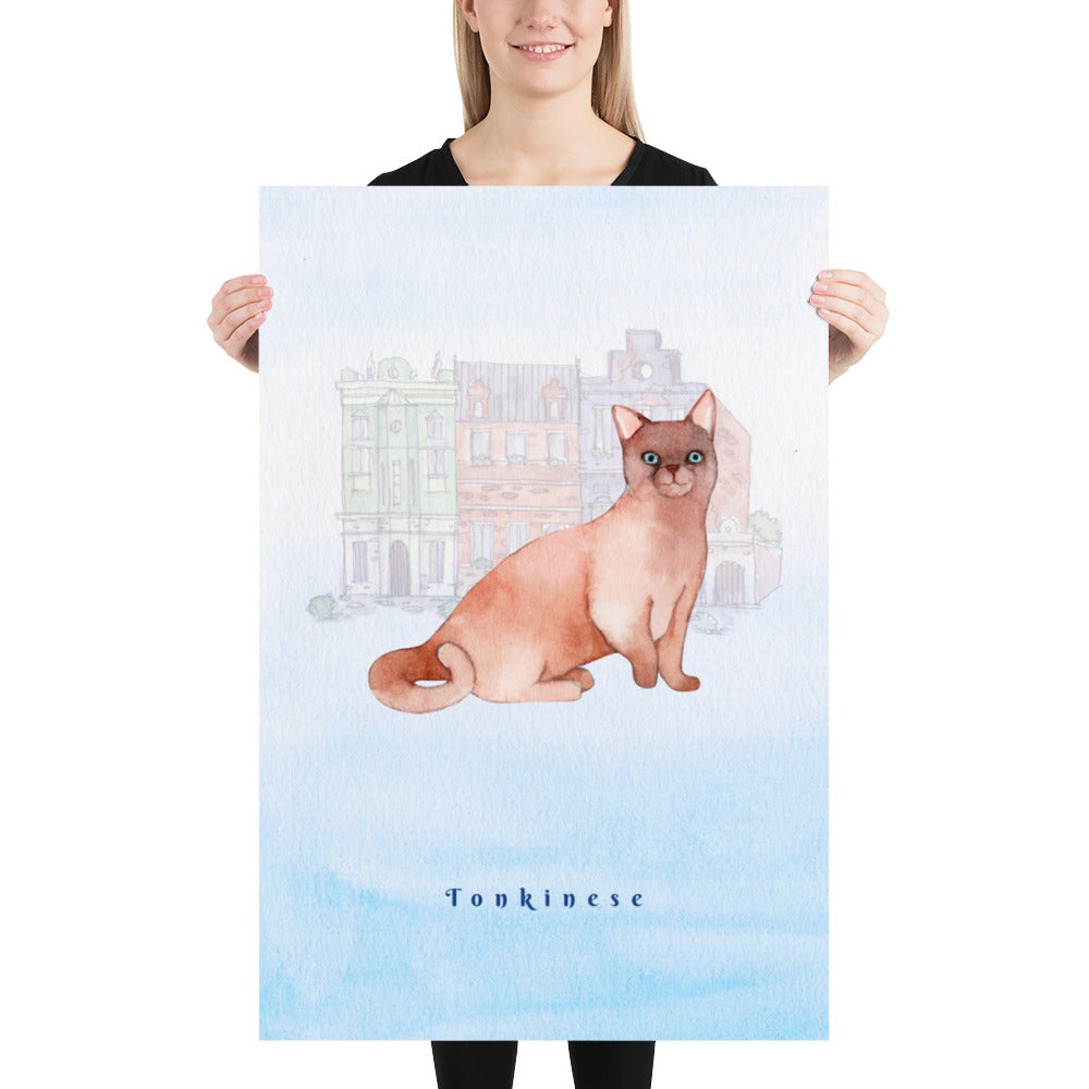 Tonkinese Cat Pet Art - Customizable Hand Drawn Watercolor Style Poster For Pet Lovers