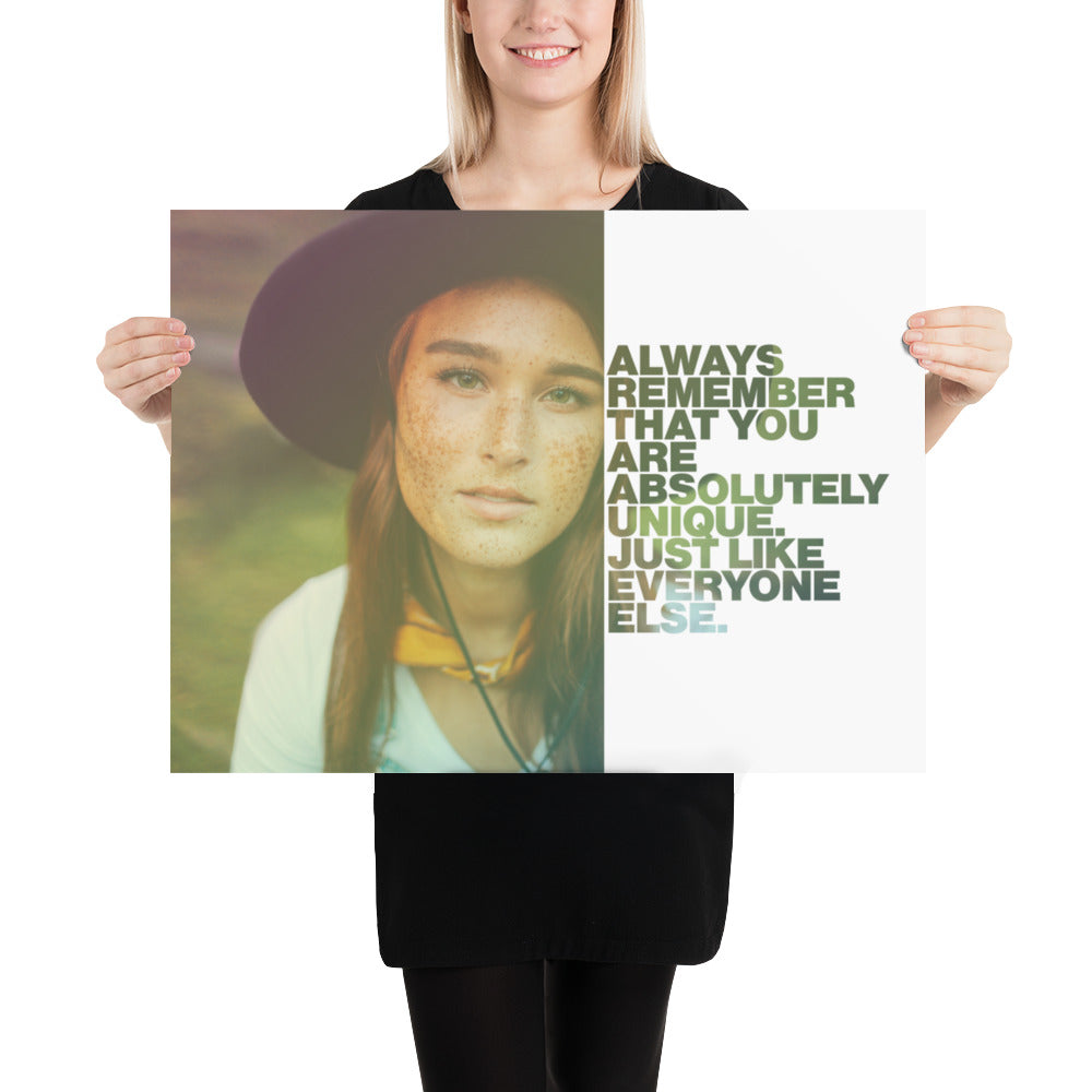"Customizable Motivational Premium Poster. ""Always remember that you are absolutely unique. Just like everyone else."" -Margaret Mead - Next Art Lab"