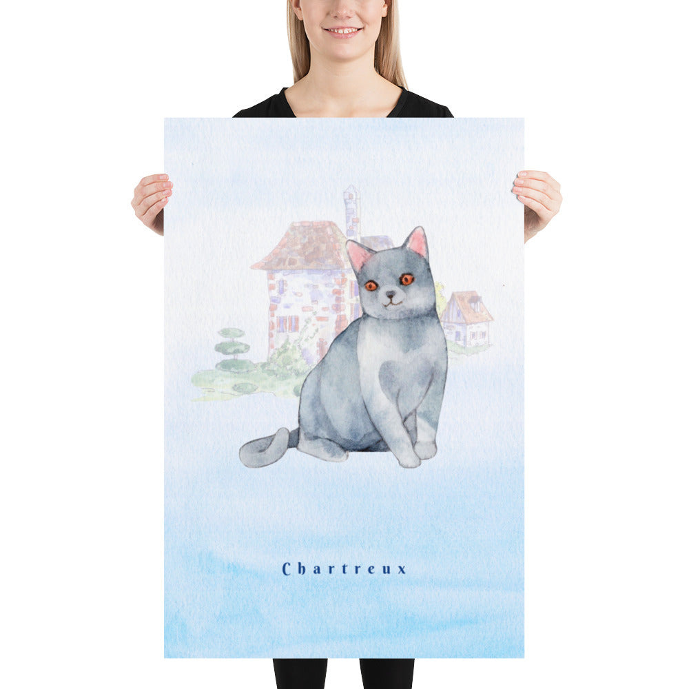 Chartreux Cat Pet Art - Customizable Hand Drawn Watercolor Style Poster For Pet Lovers