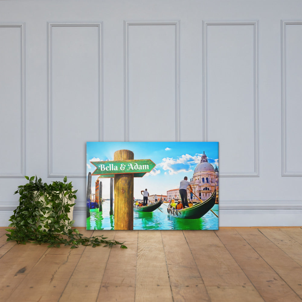 Love in Venice Gondola Customizable Premium Canvas Art - Next Art Lab
