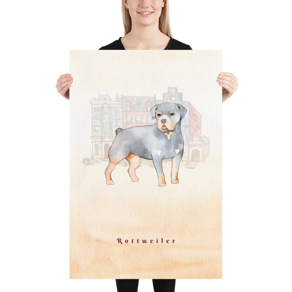 Rottweiler Dog Pet Art - Customizable Hand Drawn Watercolor Style Poster For Pet Lovers - Next Art Lab