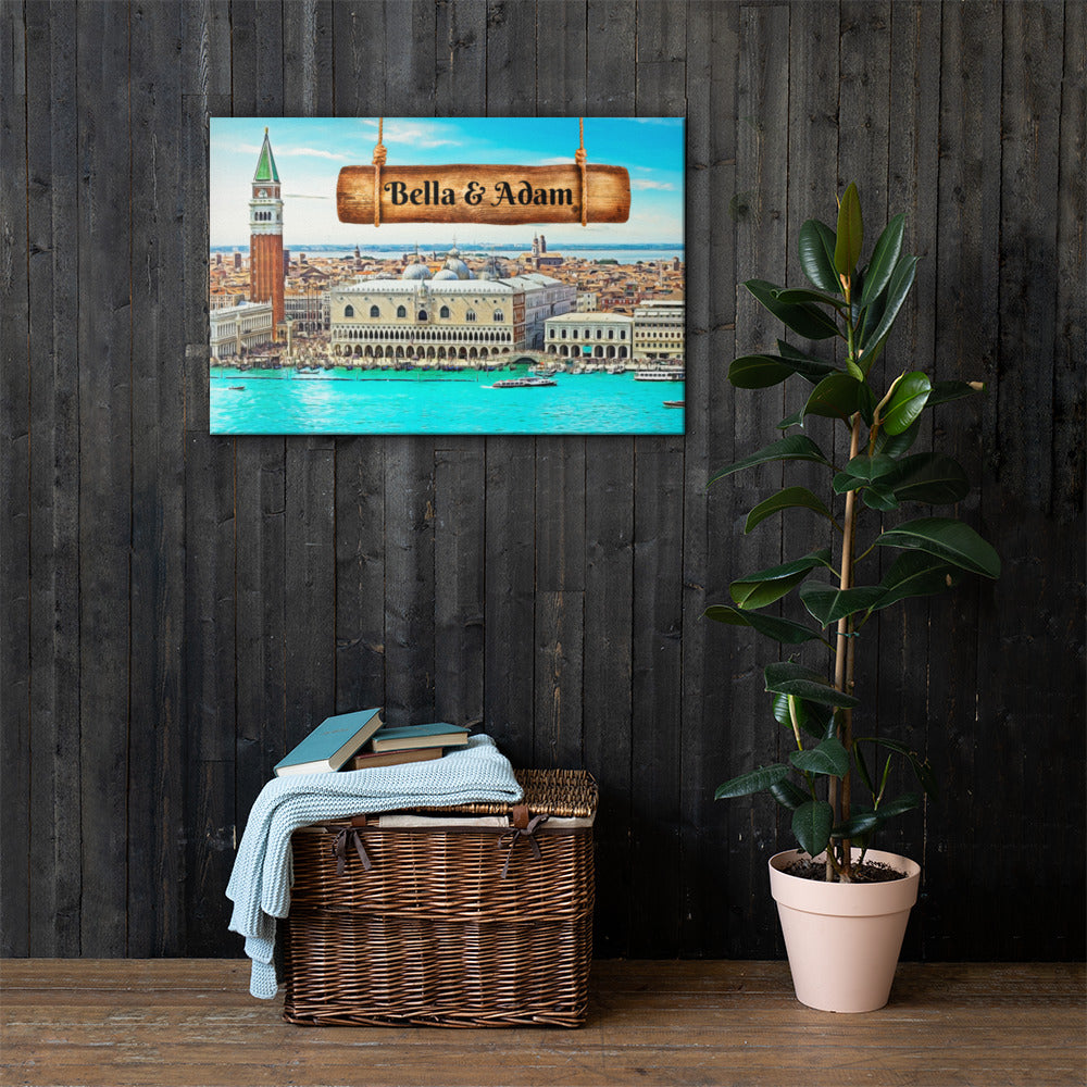 Love in Venice View Customizable Premium Canvas Art - Next Art Lab