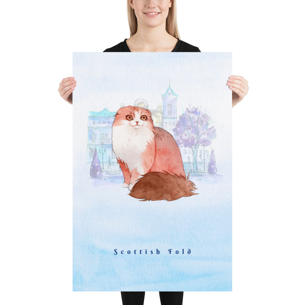 Scottish Fold Cat Pet Art - Customizable Hand Drawn Watercolor Style Poster For Pet Lovers