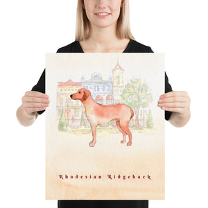 Rhodesian Ridgeback Dog Pet Art - Customizable Hand Drawn Watercolor Style Poster For Pet Lovers - Next Art Lab