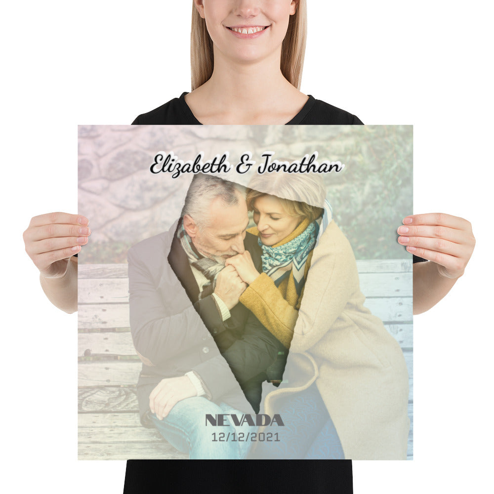 Nevada State Of Love, Mark your memories with this customizable premium poster - Next Art Lab