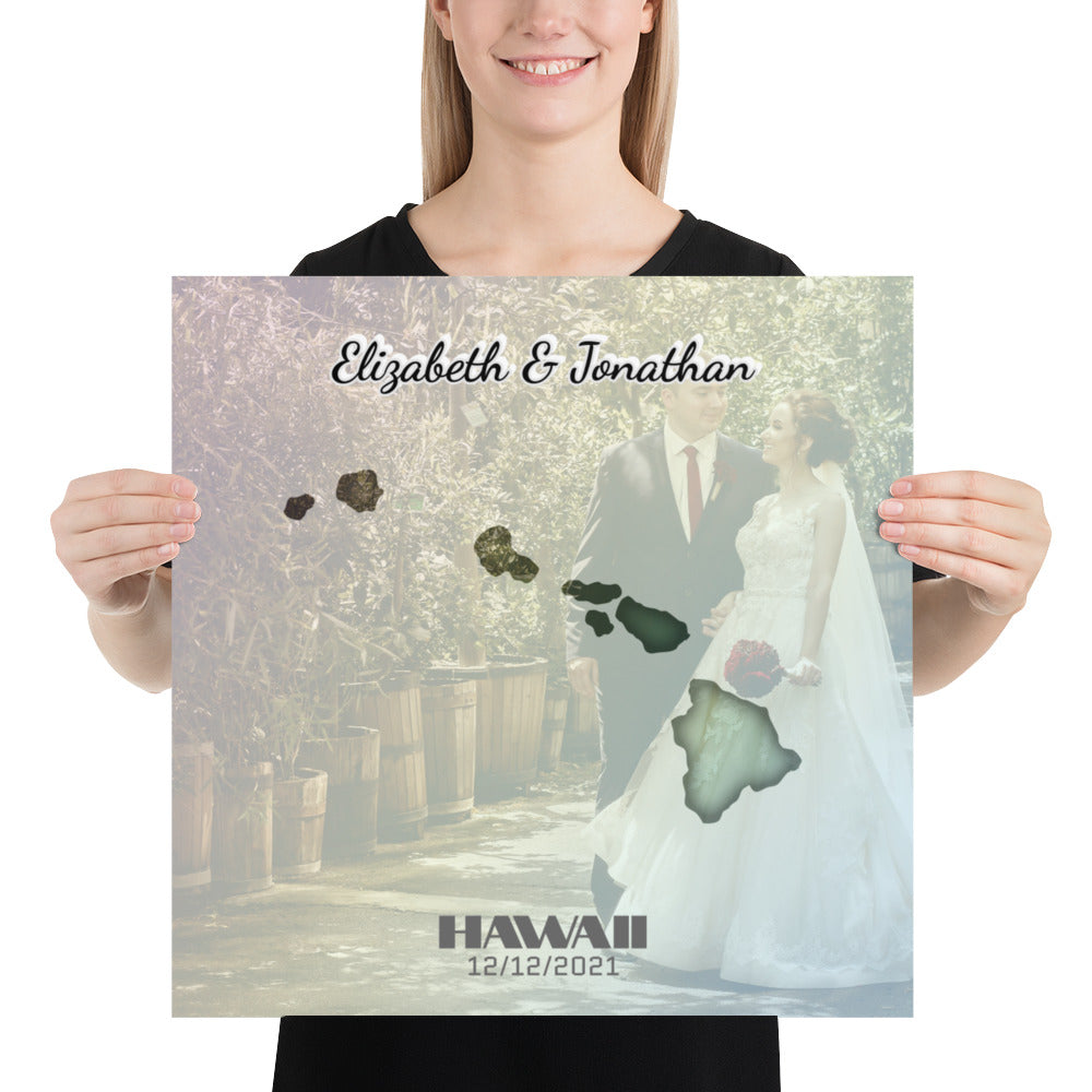 Hawaii State Of Love, Mark your memories with this customizable primum poster - Next Art Lab