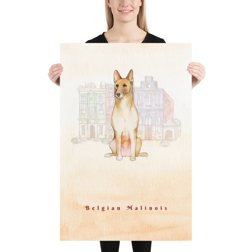 Belgian Malinois Dog Pet Art - Customizable Hand Drawn Watercolor Style Poster For Pet Lovers - Next Art Lab