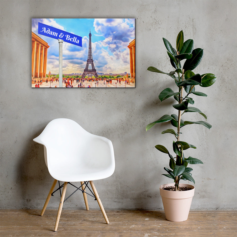 Love in Paris Customizable Premium Canvas Art - Next Art Lab