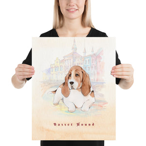 Open image in slideshow, Basset Hound Dog Pet Art - Customizable Hand Drawn Watercolor Style Poster For Pet Lovers - Next Art Lab