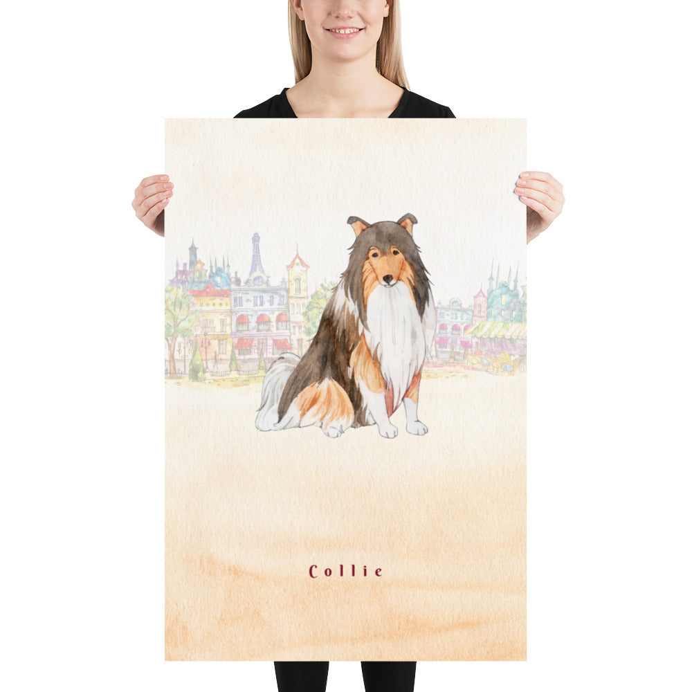 Collie Dog Pet Art - Customizable Hand Drawn Watercolor Style Poster For Pet Lovers - Next Art Lab