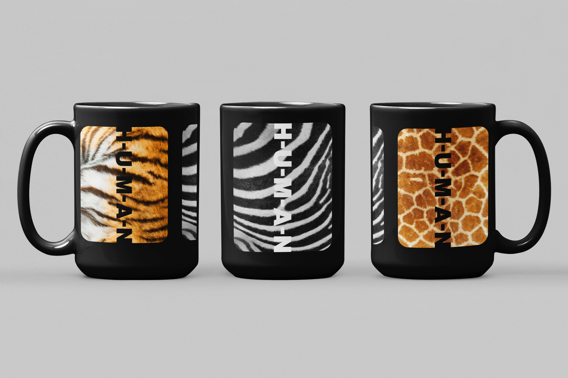 Animal Print Black Coffee Mug
