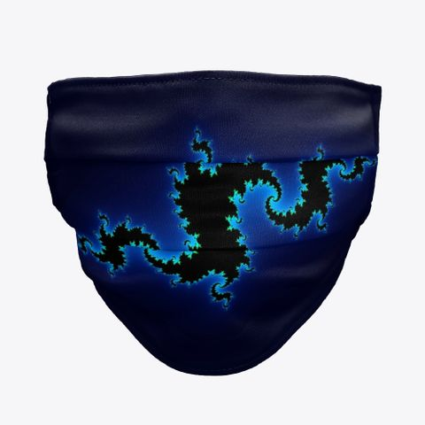 Julia Fractal Blue Color Coding, Cloth Face Mask