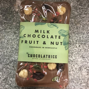 Handmade Milk Chocolate Bar topped with Fruit and Nuts by LA CHOCLATRICE