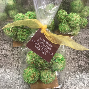 Bag of White Chocolate Raspberry and Pistachio Truffles