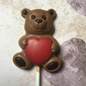 Belgian Milk Chocolate Teddy and Heart Lollipop by BELFINE