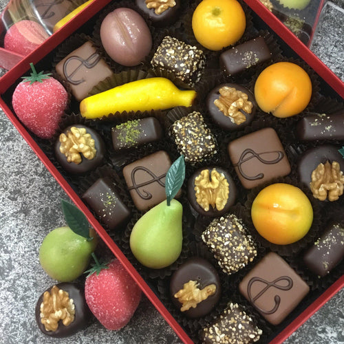 Box of Luxury Marzipan Fruits and Chocolate Covered Marzipans | Chocolat in Kirkby Lonsdale