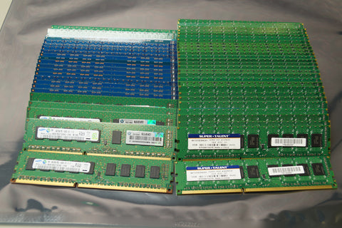 Lot of 55 - Mixed Brand 4 GB DDR3 PC3-12800E / 10600E Server RAM