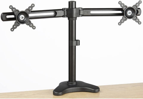 "Dual Monitor Desk Mount 10"" to 24"" Rotating Height Adjustable Clamp-on Base"
