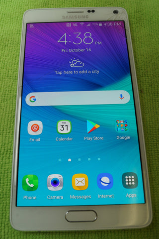 Unlocked Samsung Galaxy Note 4 - SM-N910A White Cracked Screen Working 32GB - Red Leaf Tech Store