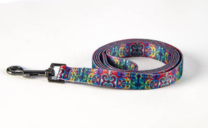 6ft tie dye leash - blue spiral combo