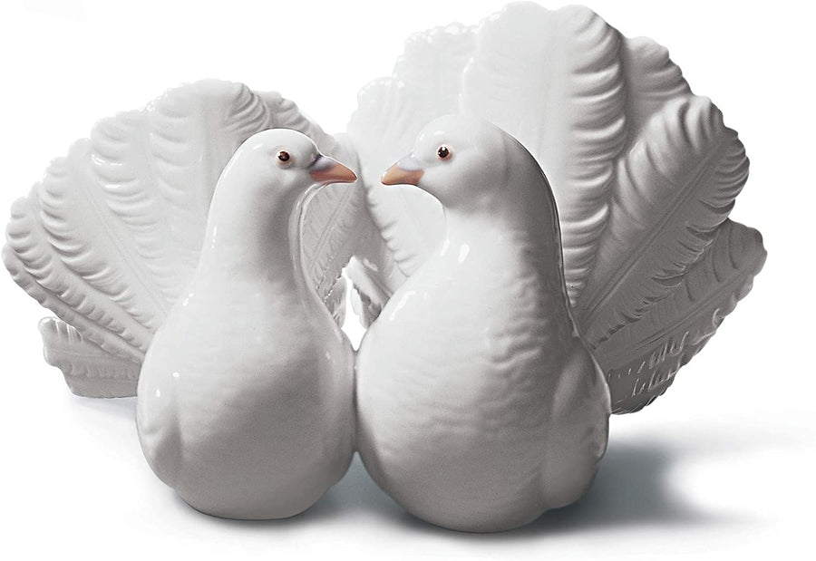 LLADRÓ Couple of Doves Figurine. Porcelain Doves Figure.