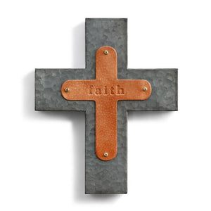 Faith Wall Cross Genuine Leather Galvanized Metal