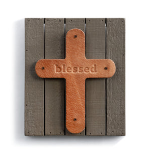 Blessed Plaque Genuine Leather Paulownia Wood