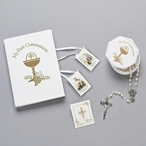 5PC WHITE/GOLD COMMUNION SET ROSARY, BOX, BOOK, PIN, SCAPLR