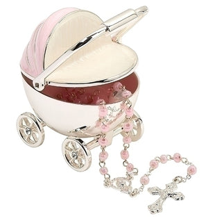 "2.75""H PINK CARRIAGE KEEPSAKE BOX + ROSARY"