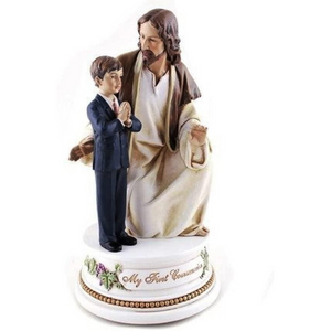 Roman My First Communion Young Boy with Jesus 7 Inch Resin Stone Musical Figurine Plays The Lord's Prayer