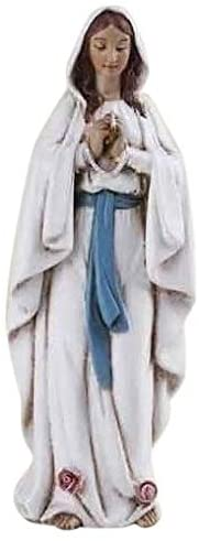 Roman Our Lady Of Lourdes Ivory With Bright Blue 4.5 x 6.5 Resin Tabletop Figurine