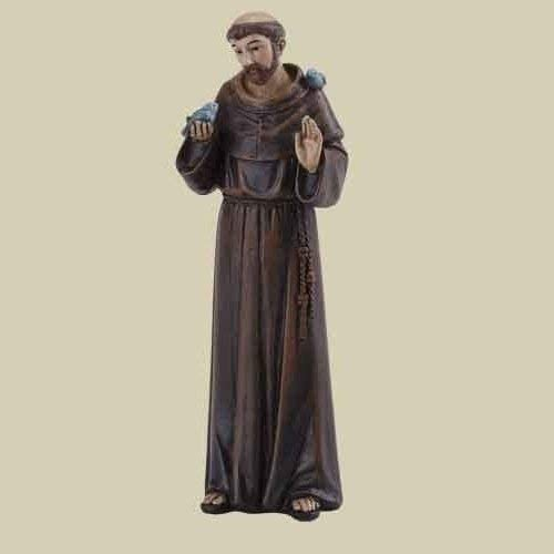 Roman St. Francis Holding Bird Deep Brown 2 x 4 Resin Stone Tabletop Figurine