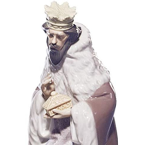 LLADRÓ King Gaspar Nativity Figurine-Ii. Porcelain Three Wise Men Figure.