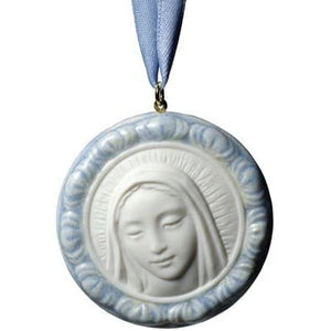 NAO Protective Mary (Blue Medallion). Porcelain Pendant.