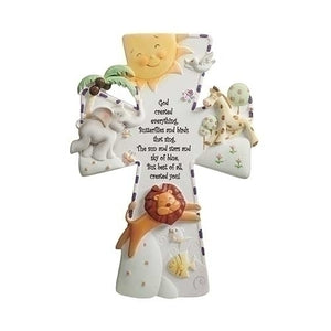God Created Everything 7 inch Resin Stone Decorative Hanging Wall Cross