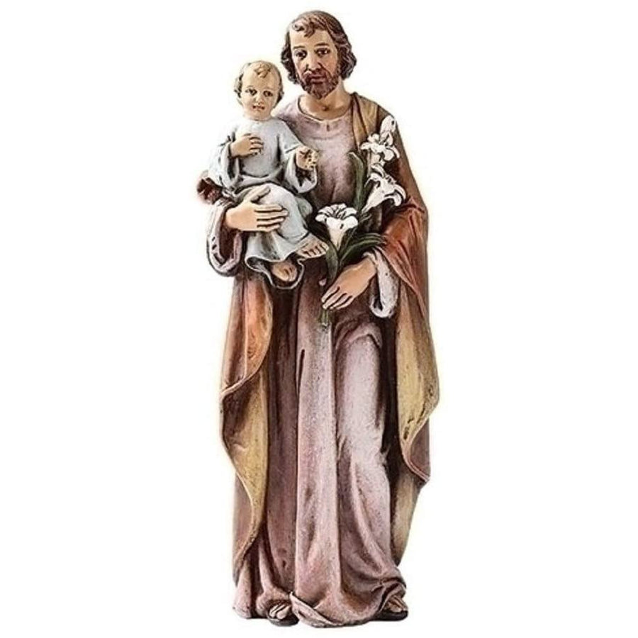 Religious Gifts Catholic Gift 6 Inch Stone Resin Saint St Joseph with Jesus Christ Child Home Chapel Decoration