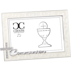 "Roman - Communion Frame for 4"" x 6"" Photo, Rhinestone Cross, Caroline Collection, Horizontal Tabletop or Desk Display - 4.75"" H, Metal, Decorative, Durable"